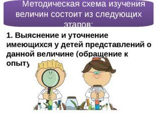 Методическая схема изучения величин состоит из следующих этапов: 1. Выясне