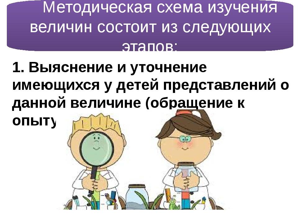 Методическая схема изучения величин состоит из следующих этапов: 1. Выясне...