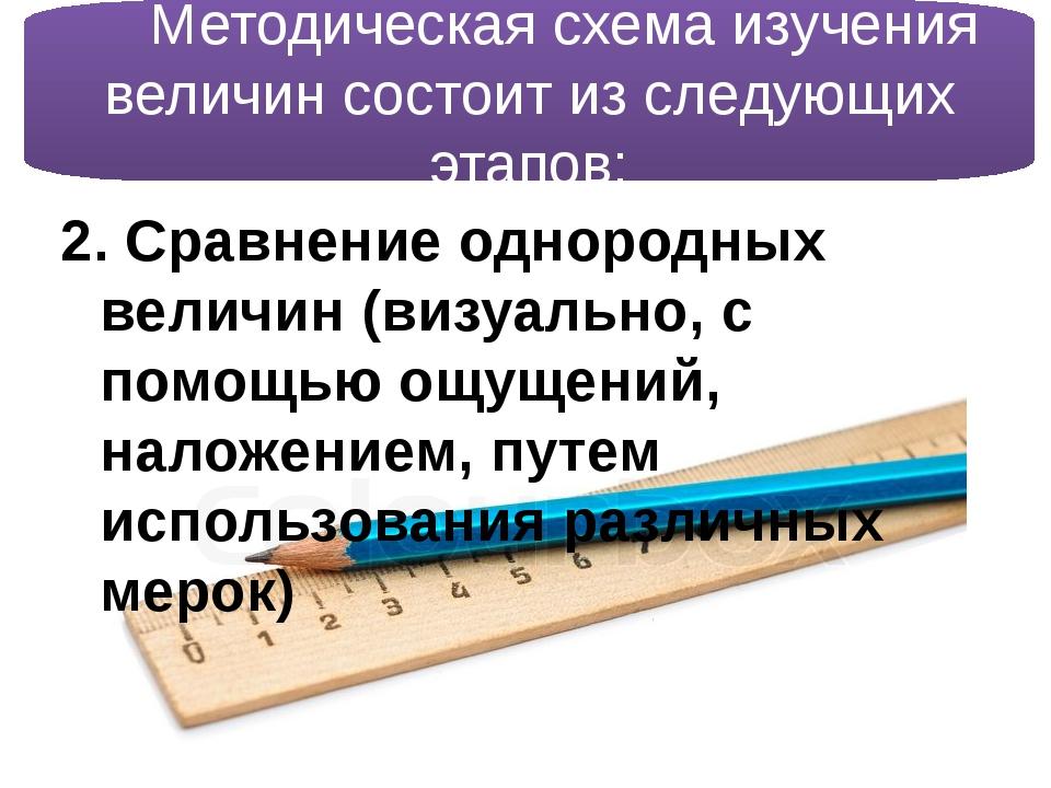 2. Сравнение однородных величин (визуально, с помощью ощущений, наложением,...