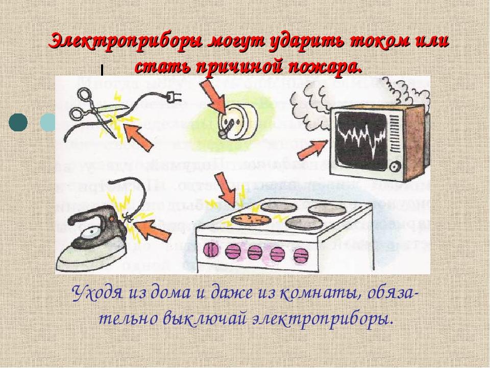 Электроприборы могут ударить током или стать причиной пожара. Уходя из дома и...