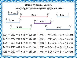 Даны отрезки, узнай, чему будет равна сумма двух из них 3 см 4 см 5 см 9 см 6