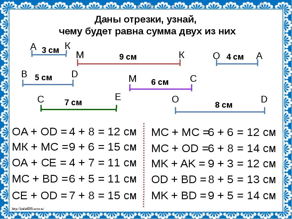 Даны отрезки, узнай, чему будет равна сумма двух из них 3 см 4 см 5 см 9 см 6...