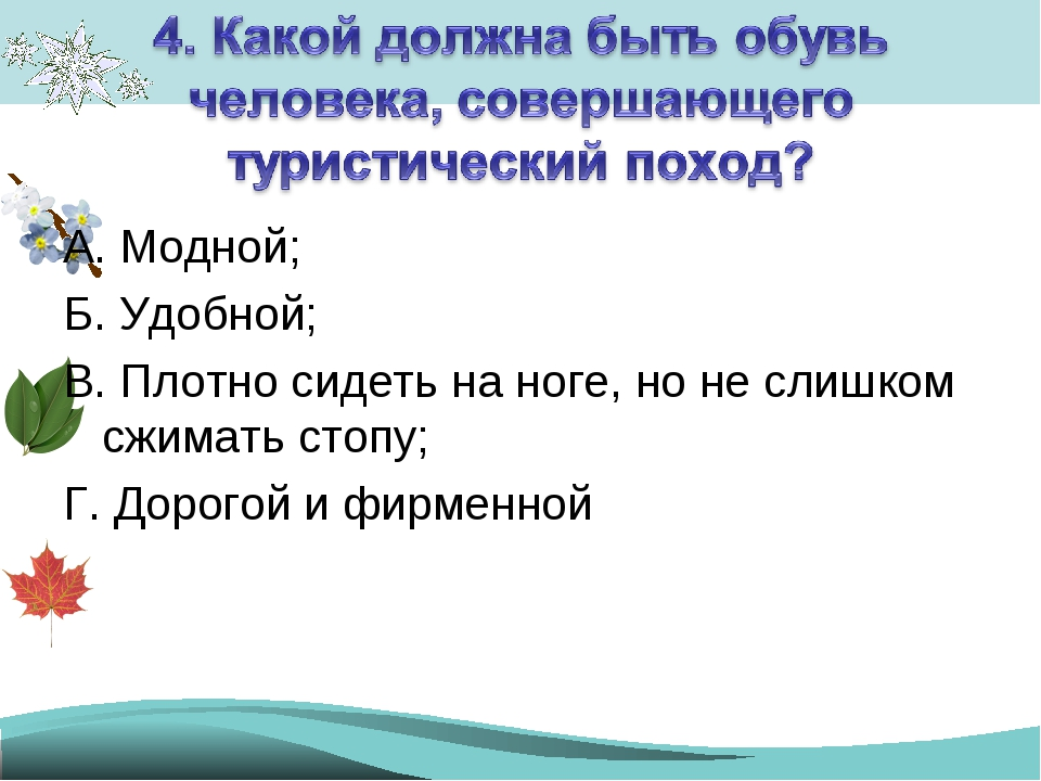 А. Модной; Б. Удобной; В. Плотно сидеть на ноге, но не слишком сжимать стопу;...