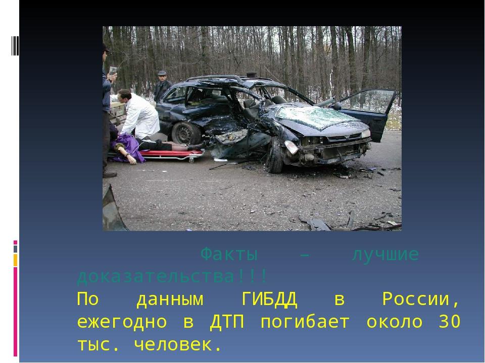 Факты – лучшие доказательства!!! По данным ГИБДД в России, ежегодно в ДТП по...