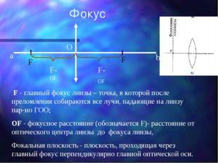 F - главный фокус линзы – точка, в которой после преломления собираются все