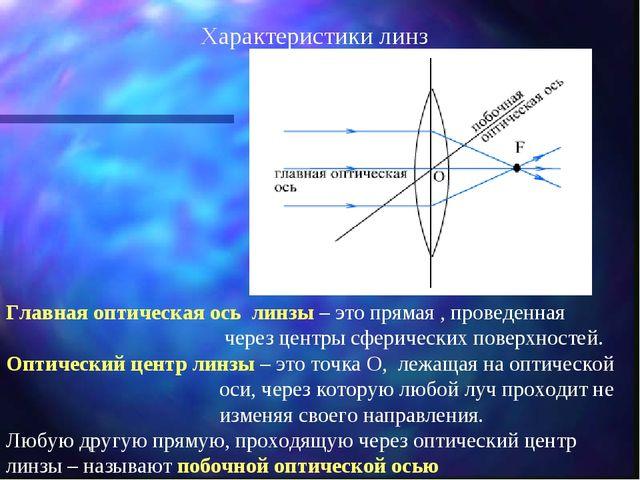 Главная оптическая ось линзы – это прямая , проведенная через центры сфериче...