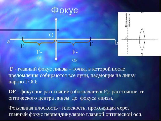 F - главный фокус линзы – точка, в которой после преломления собираются все...