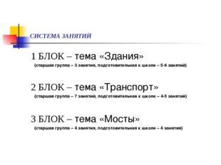 СИСТЕМА ЗАНЯТИЙ 1 БЛОК – тема «Здания» (старшая группа – 3 занятия, подготови