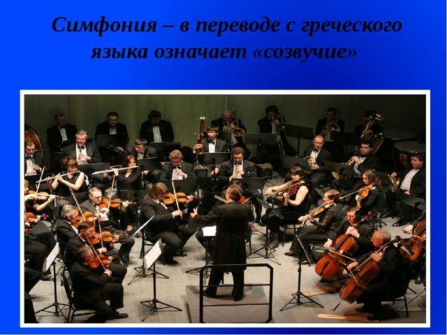 Симфония – в переводе с греческого языка означает «созвучие»
