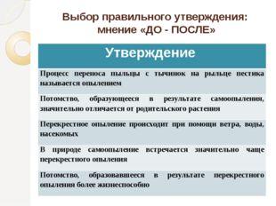 Выбор правильного утверждения: мнение «ДО - ПОСЛЕ» Утверждение Процесс перено