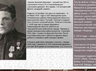 Корнев Василий Иванович 14.10.1922 - 19.01.1998 Герой Советского Союза Корнев