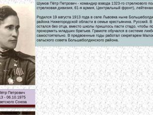 Шумов Пётр Петрович 19.08.1913 - 06.10.1975 Герой Советского Союза Шумов Пётр