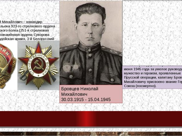 Бровцев Николай Михайлович 30.03.1915 - 15.04.1945 Указом Президиума Верховно...