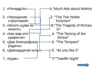 """7. «Буря» 7. """"Twelfth Night"""" 1. «Ричард III» 2. «Укрощение строптивой» 3. «Мн"""