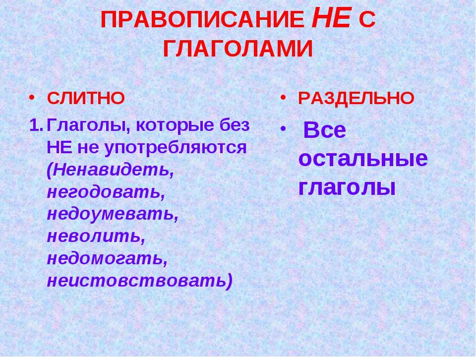 ПРАВОПИСАНИЕ НЕ С ГЛАГОЛАМИ СЛИТНО Глаголы, которые без НЕ не употребляются (...