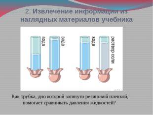 2. Извлечение информации из наглядных материалов учебника Как трубка, дно кот