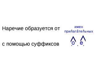 Наречие образуется от с помощью суффиксов . . . . . . имен прилагательных