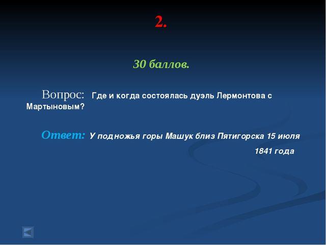 2. 30 баллов. Вопрос: Где и когда состоялась дуэль Лермонтова с Мартыновым? О...