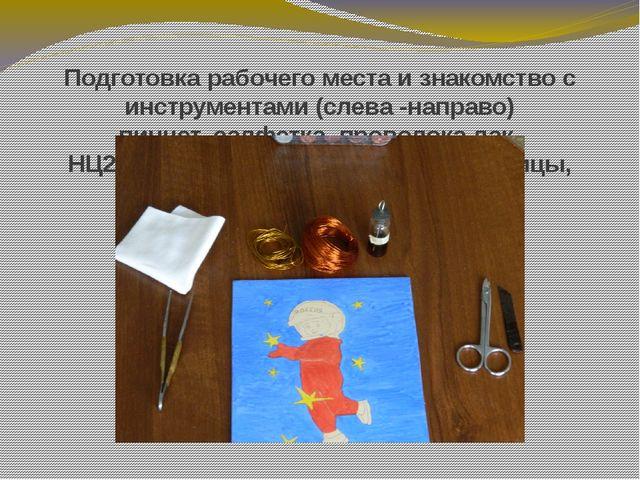 Подготовка рабочего места и знакомство с инструментами (слева -направо) пинце...