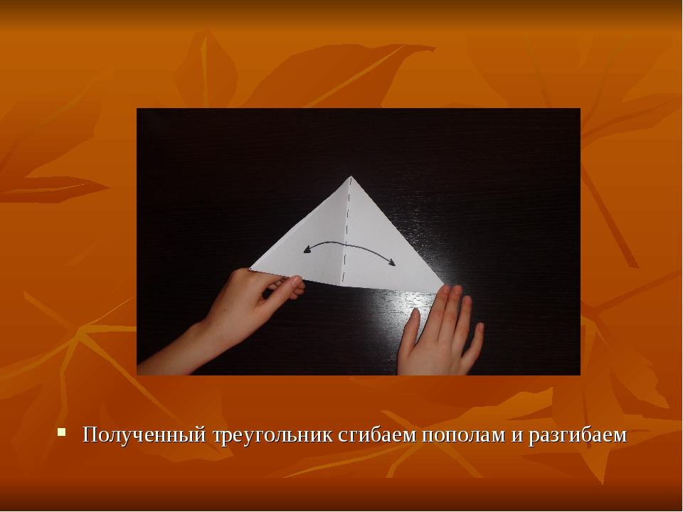 Полученный треугольник сгибаем пополам и разгибаем