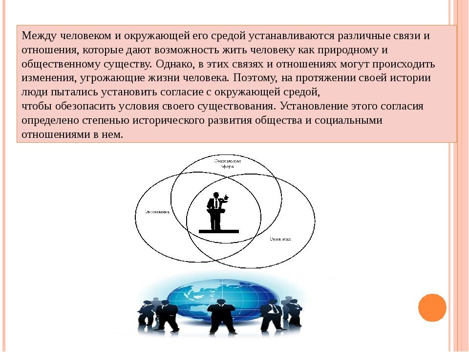 Между человеком и окружающей его средой устанавливаются различные связи и от...
