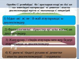 Оразбек Сәрсенбайдың біз қарастырып отырған «Бақыт құсы» повесіндегі материал