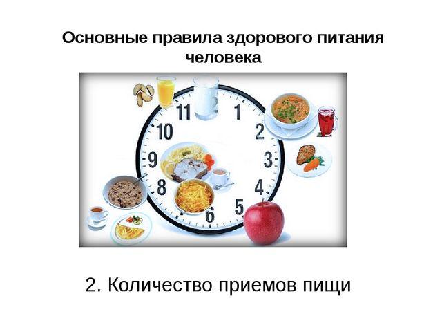 Основные правила здорового питания человека 2. Количество приемов пищи