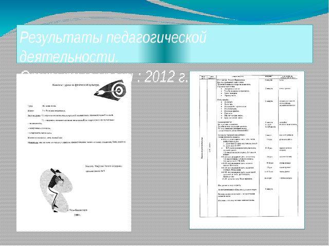 Результаты педагогической деятельности. Открытые уроки : 2012 г.