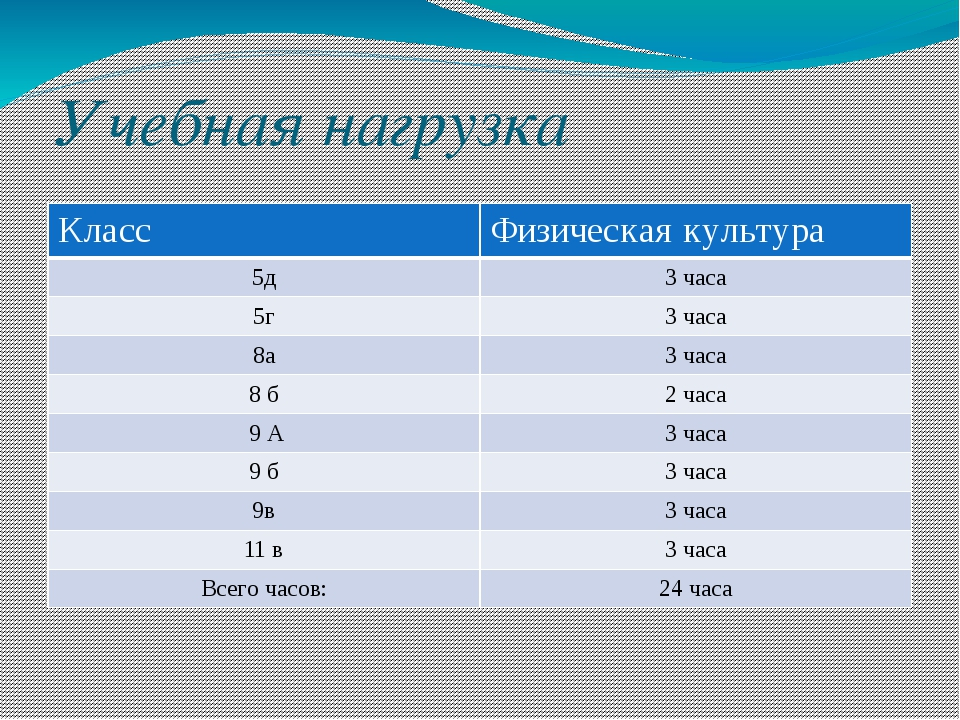 Учебная нагрузка Класс Физическая культура 5д 3 часа 5г 3 часа 8а 3 часа 8 б...