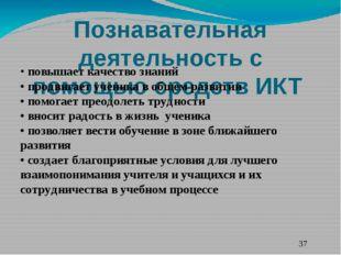 Познавательная деятельность с помощью средств ИКТ  • повышает качество знани