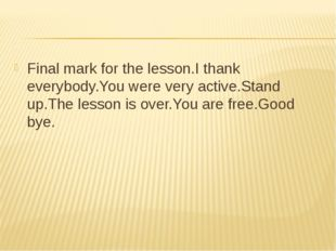 Final mark for the lesson.I thank everybody.You were very active.Stand up.The