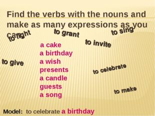 Find the verbs with the nouns and make as many expressions as you can. a cake