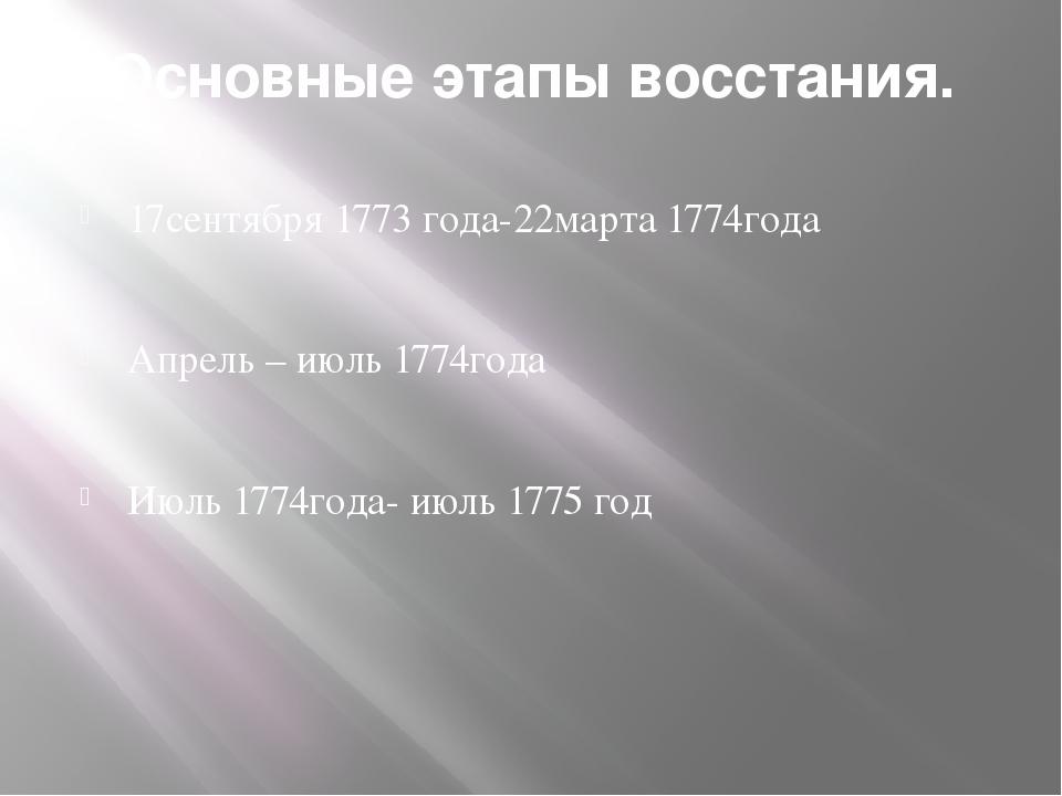 Основные этапы восстания. 17сентября 1773 года-22марта 1774года Апрель – июль...