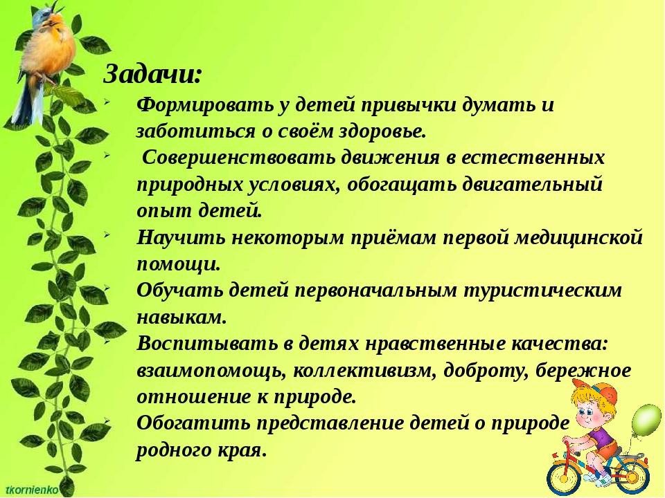 Задачи: Формировать у детей привычки думать и заботиться о своём здоровье. С...