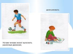Ногами человек может выполнять различные движения, даже рисовать