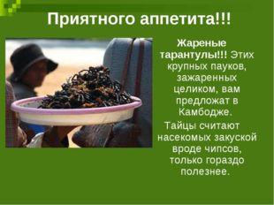 Приятного аппетита!!! Жареные тарантулы!!! Этих крупных пауков, зажаренных це