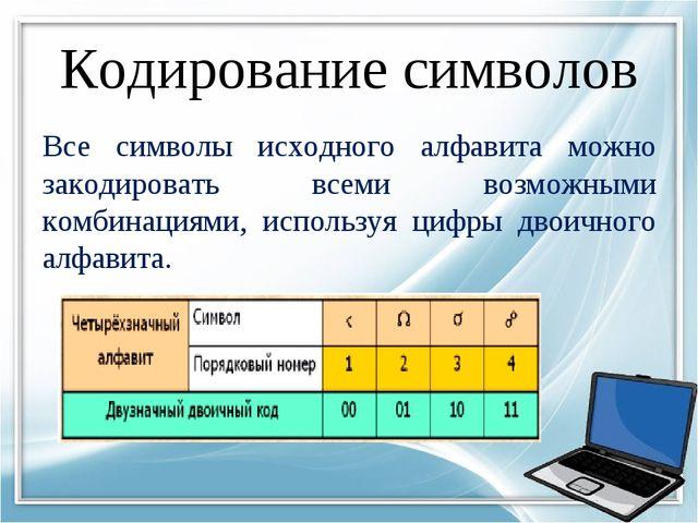 Кодирование символов Все символы исходного алфавита можно закодировать всеми...