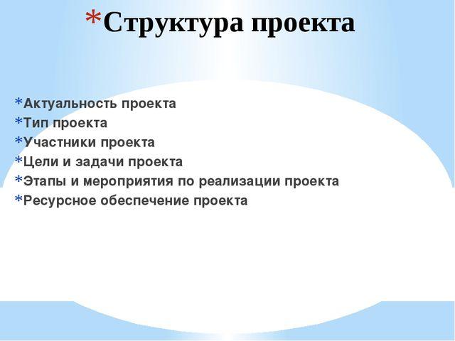 Структура проекта Актуальность проекта Тип проекта Участники проекта Цели и з...