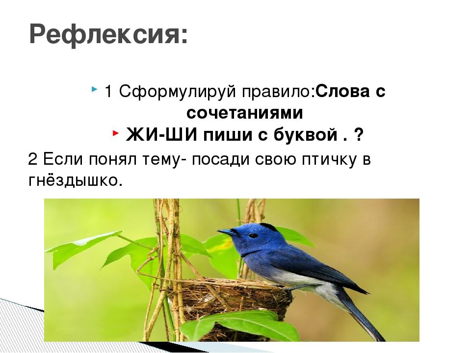 1 Сформулируй правило:Слова с сочетаниями ЖИ-ШИ пиши с буквой . ? 2 Если поня...