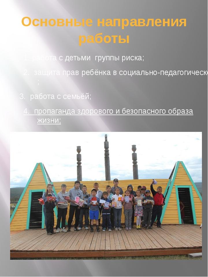 Основные направления работы 1. работа с детьми группы риска; 2. защита прав р...