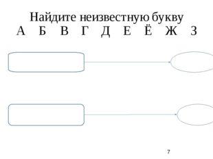 Найдите неизвестную букву А Б В Г Д Е Ё Ж З 5Х + 11 = Х + 23 В 3Х – 7 = 8 ?