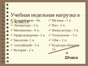 Учебная недельная нагрузка в 5 классе Русский язык - 6ч. Литература - 2 ч. М