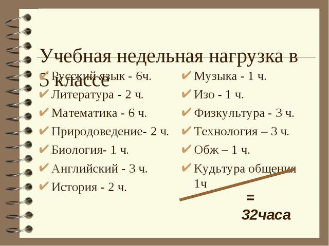 Учебная недельная нагрузка в 5 классе Русский язык - 6ч. Литература - 2 ч. М...