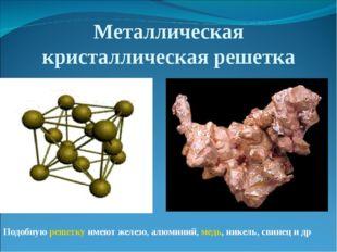 Металлическая кристаллическая решетка Подобнуюрешеткуимеют железо, алюминий