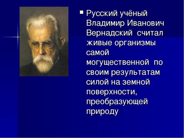 Русский учёный Владимир Иванович Вернадский считал живые организмы самой могу...