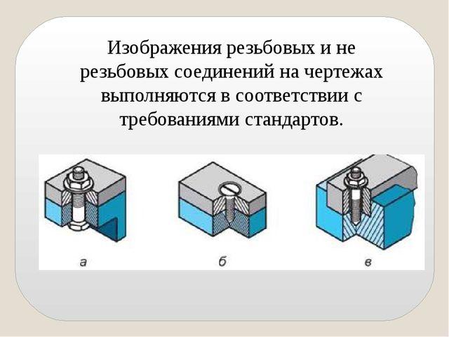 Изображения резьбовых и не резьбовых соединений на чертежах выполняются в соо...
