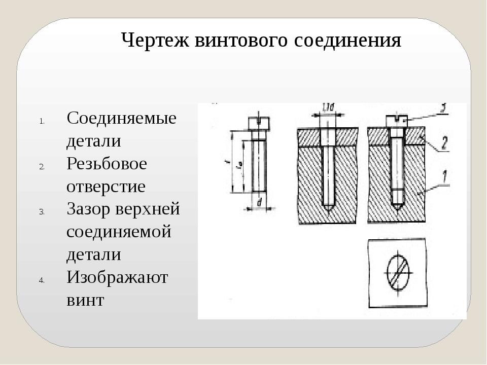 Соединяемые детали Резьбовое отверстие Зазор верхней соединяемой детали Изоб...