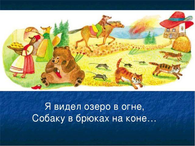 Я видел озеро в огне, Собаку в брюках на коне…