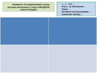 Напишите 3-4 предложения о роли, которую выполняет в тексте ВВОДНАЯ КОНСТРУК