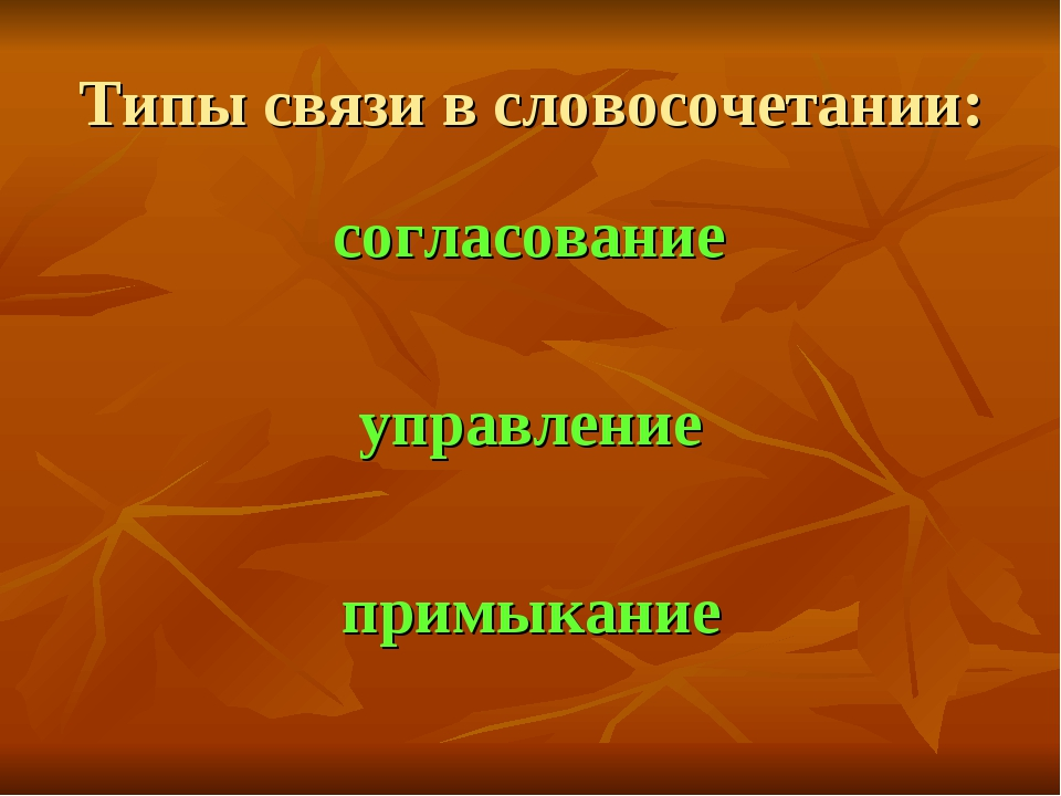 Типы связи в словосочетании: согласование управление примыкание